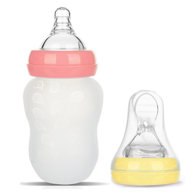 BABY MATE 2-in-1 Anti Colic Baby Feeding Bottles & Silicone Squeeze Feeder (6oz/180ml, Pink & Yellow)