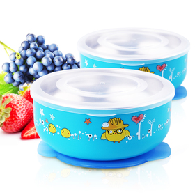 Baby Mate 2 PCS Detachable Double Layer Stay Put Suction Bowls with Lids (12oz/350ml, Blue)
