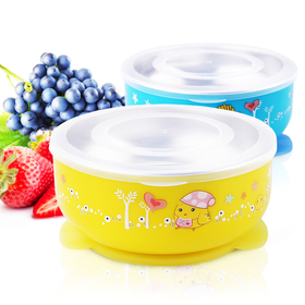 Baby Mate 2 PCS Detachable Double Layer Stay Put Suction Bowls with Lids (12oz/350ml, Blue & Yellow)