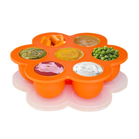 BABY MATE Portable Flower Shape Silicone Baby Food Storage Containers with Clip-on Lid (7 x 2 oz Cups, Orange)