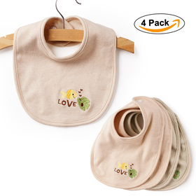 BABY MATE 4 PCS 100% Non-Dyed Organic Cotton Bibs with Snaps (Free of BPA, Phthalate, PVC)
