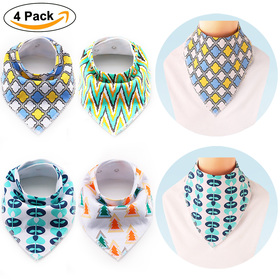 BABY MATE Set of 4 Large Baby Bandana Bib (16