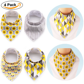 BABY MATE Set of 4 Large Cotton Baby Bandana Bib (16