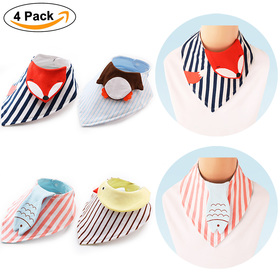 BABY MATE Set of 4 Combed Cotton Dimensional Cartoon Animals Baby Bibs with Snaps (Fox, Penguin, Chicken, Fish)