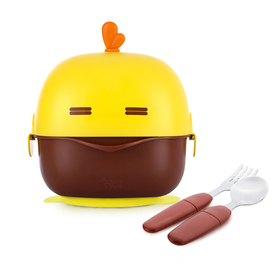 Baby Mate Suction Bowl for Toddlers with Fork & Spoon Set (13oz/380ml, Yellow & Brown) - Toddler Bowls with Suction and Lid - BPA Free Stay Put Suction Baby Bowls Stainless Steel Dinnerware for Kids